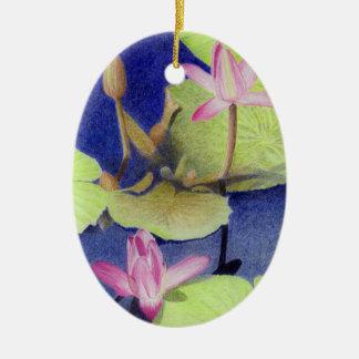 Ornement Ovale En Céramique Fleurs roses de nénuphar de Lotus