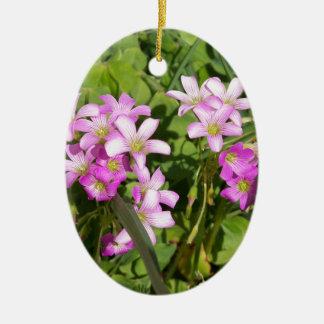 Ornement Ovale En Céramique Fleurs sauvages roses sensibles de ressort