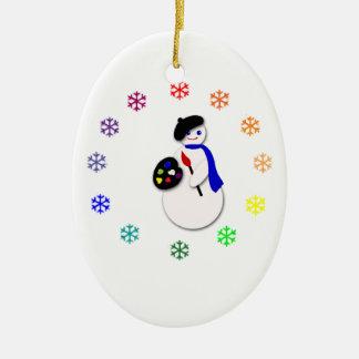 Ornement Ovale En Céramique Flocon de neige Colorwheel de l'artiste W du