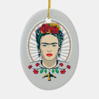 Ornement Ovale En Céramique Floral vintage de Frida Kahlo |
