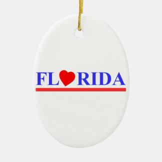 Ornement Ovale En Céramique Florida coeur rouge