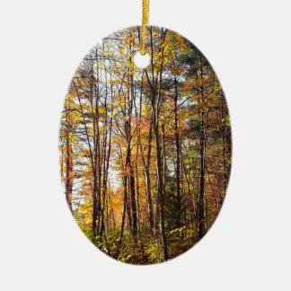 Ornement Ovale En Céramique Forêt d'automne du New Hampshire