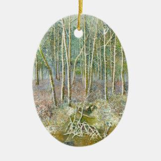Ornement Ovale En Céramique forêt d'hiver