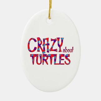 Ornement Ovale En Céramique Fou au sujet des tortues