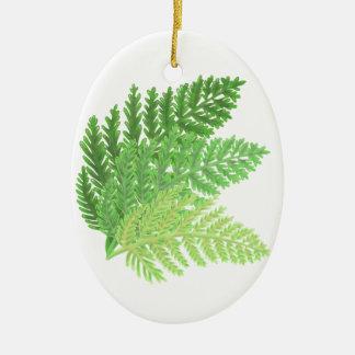 Ornement Ovale En Céramique Fougères vertes