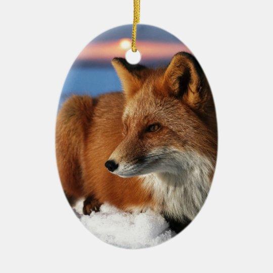 Ornement Ovale En Céramique Fox