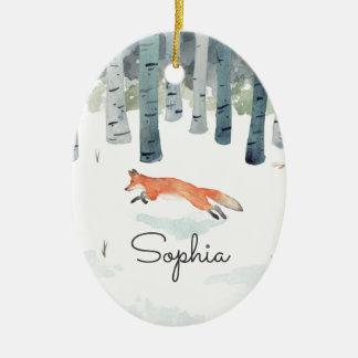 Ornement Ovale En Céramique Fox d'hiver