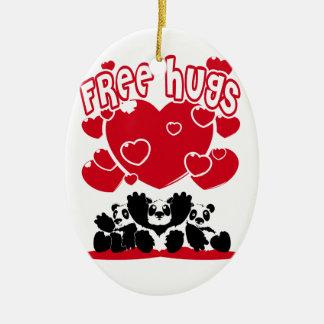 Ornement Ovale En Céramique Free_Hugs