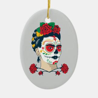 Ornement Ovale En Céramique Frida Kahlo | El Día de los Muertos