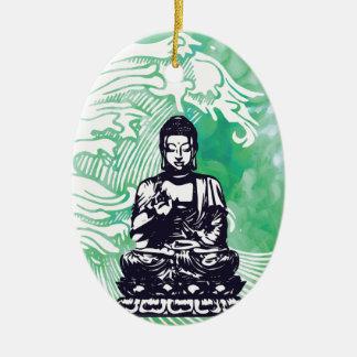 Ornement Ovale En Céramique Fumée d'émeraude de vague de Bouddha d'ouragan