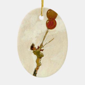 Ornement Ovale En Céramique Garçon vintage avec les ballons rouges à une fête