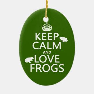 Ornement Ovale En Céramique Gardez le calme et aimez les grenouilles (toute