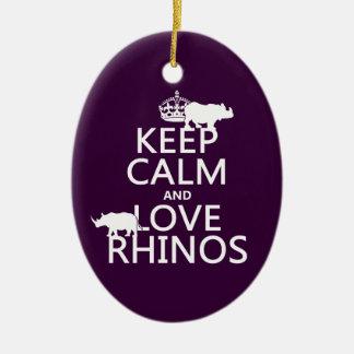 Ornement Ovale En Céramique Gardez le calme et aimez les rhinocéros (toute