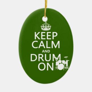 Ornement Ovale En Céramique Gardez le calme et battez du tambour sur (toute
