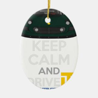 Ornement Ovale En Céramique Gardez le calme et conduisez-LE - morue. ExigeS1