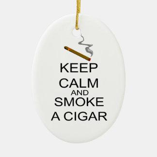 Ornement Ovale En Céramique Gardez le calme et fumez un cigare