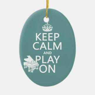 Ornement Ovale En Céramique Gardez le calme et le jeu sur (piano) (toute