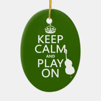Ornement Ovale En Céramique Gardez le calme et le jeu sur (violoncelle) (toute