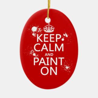 Ornement Ovale En Céramique Gardez le calme et le peignez sur (dans toutes les