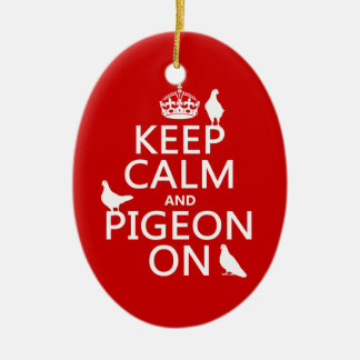 Ornement Ovale En Céramique Gardez le calme et le pigeon dessus - toutes les