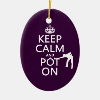 Ornement Ovale En Céramique Gardez le calme et le pot sur (billard/piscine)