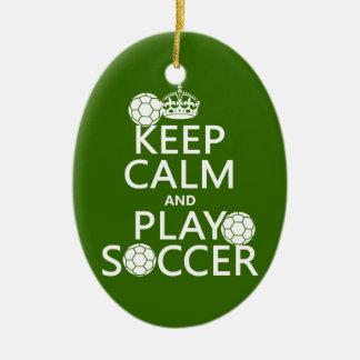 Ornement Ovale En Céramique Gardez le football de calme et de jeu (toute