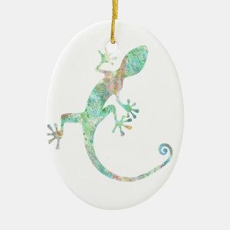 Ornement Ovale En Céramique Gecko