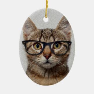 Ornement Ovale En Céramique Geek de chat