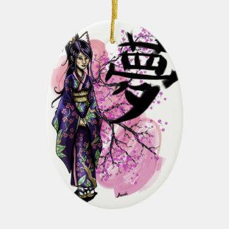 Ornement Ovale En Céramique Geisha