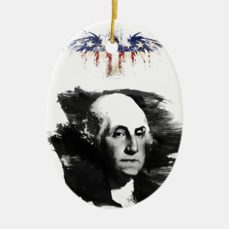Ornement Ovale En Céramique George Washington