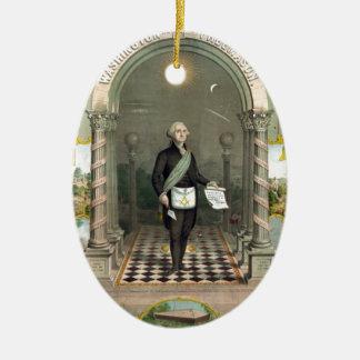 Ornement Ovale En Céramique George Washington en tant que franc-maçon
