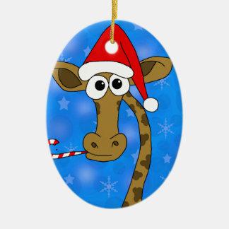 Ornement Ovale En Céramique Girafe de Noël - bleu