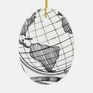 Ornement Ovale En Céramique Globe du monde
