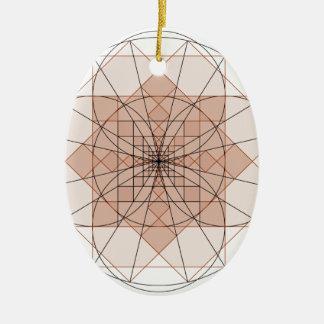 Ornement Ovale En Céramique golden rectangle flower