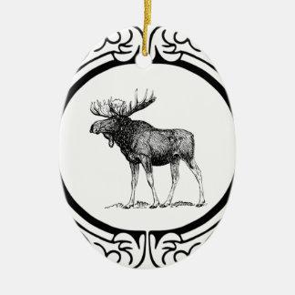 Ornement Ovale En Céramique grand art d'orignaux de taureau