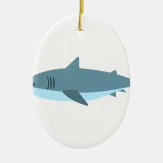 Ornement Ovale En Céramique Grand style de primitif de requin blanc