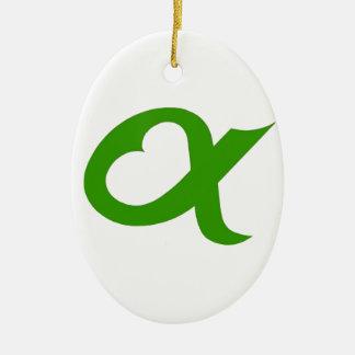 Ornement Ovale En Céramique Green Alpheart