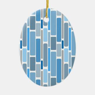 Ornement Ovale En Céramique Gris bleu de rétros blocs