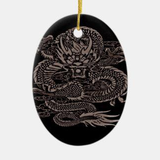 Ornement Ovale En Céramique Gris épique de dragon