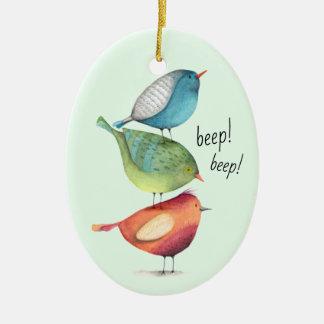 Ornement Ovale En Céramique Gros oiseaux mignons se tenant sur l'un l'autre
