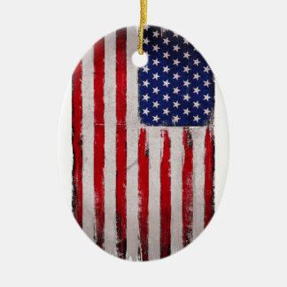 Ornement Ovale En Céramique Grunge de drapeau des Etats-Unis