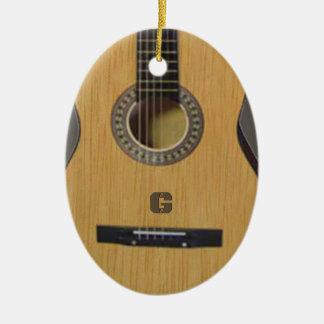 Ornement Ovale En Céramique Guitare avec (ou sans) vos initiales