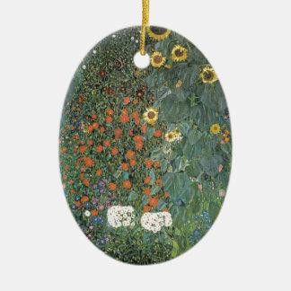 Ornement Ovale En Céramique Gustav Klimt - fleurs de tournesols de jardin de