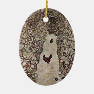 Ornement Ovale En Céramique Gustav Klimt - jardin avec des coqs