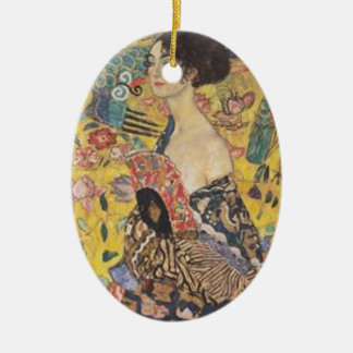 Ornement Ovale En Céramique Gustav Klimt - Madame With Fan Painting