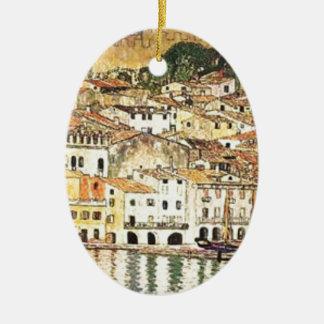 Ornement Ovale En Céramique Gustav Klimt - Malcesine sur le policier de lac
