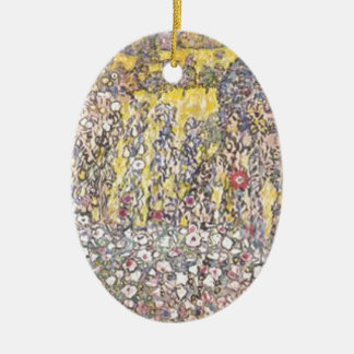 Ornement Ovale En Céramique Gustav Klimt - paysage horticole avec le sommet