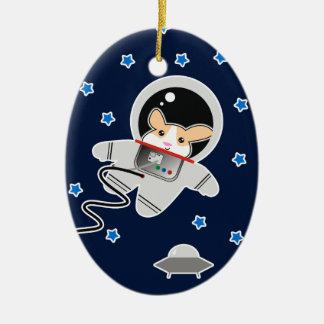 Ornement Ovale En Céramique Hamster d'astronaute