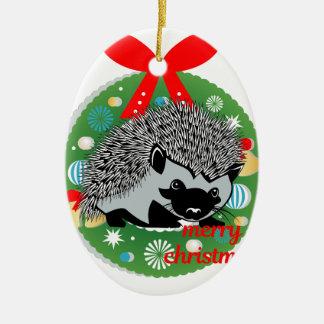 Ornement Ovale En Céramique hérisson de Joyeux Noël