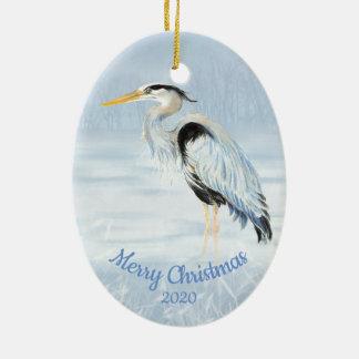 Ornement Ovale En Céramique Héron de grand bleu daté d'aquarelle de Noël de